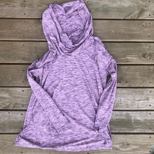 Gaiam Heathered purple cowl neck hoodie tunic XL